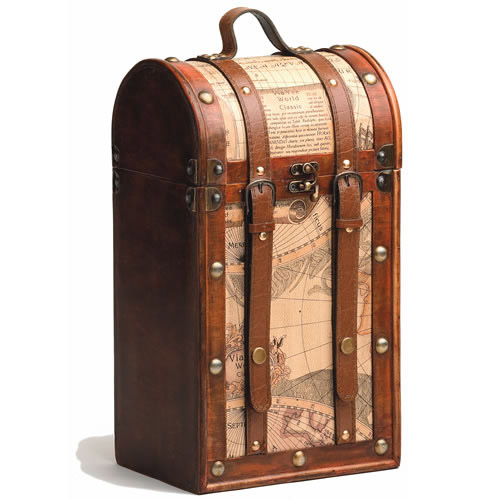Old World Map Two Bottle Wine Carrier