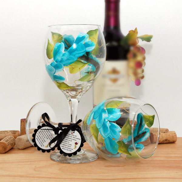 Handpainted Aqua Wrap Around Wine Glass