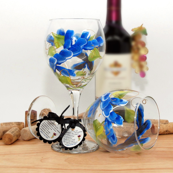 Handpainted Blue Wrap Around Wine Glass