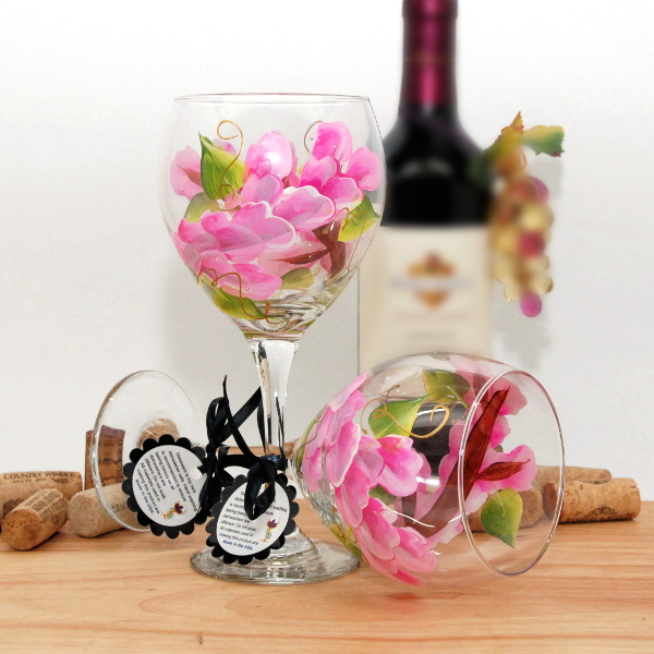 Handpainted Pink Wrap Around Wine Glass