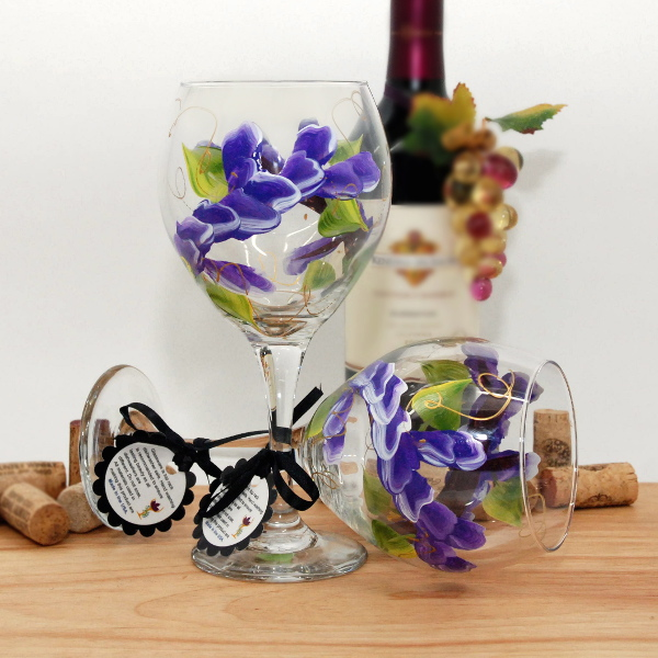 Handpainted Purple Wrap Around Wine Glass