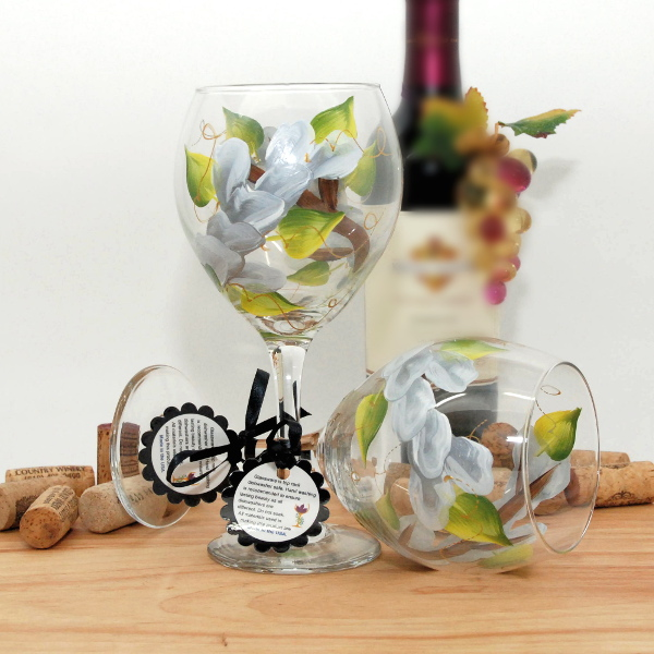 Handpainted White Wrap Around Wine Glass
