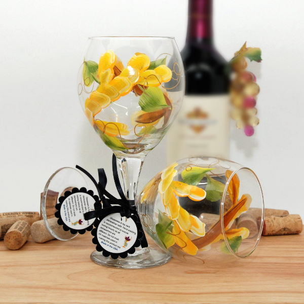 Handpainted Yellow Wrap Around Wine Glass
