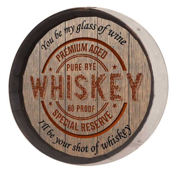 Personalized Whiskey Label Barrel Sign
