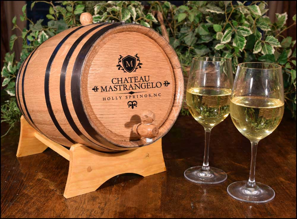 Personalized Wine Chateau Oak Barrel