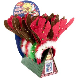 Flashing Jingling Holiday Antlers Headband