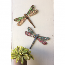 Set Of Two Dragonfly Wooden Wall Art