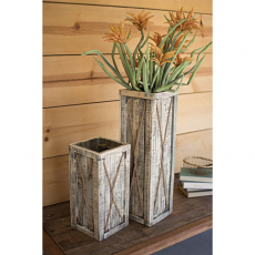 Tall Recycled Wooden Planters (Set Of 2)