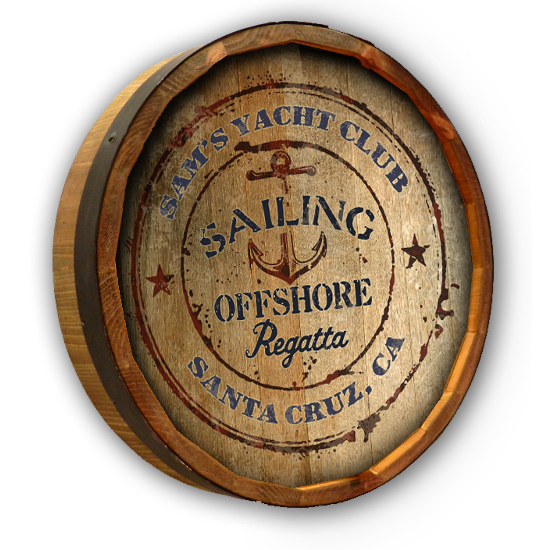 Personalized Yacht Club Quarter Barrel Sign