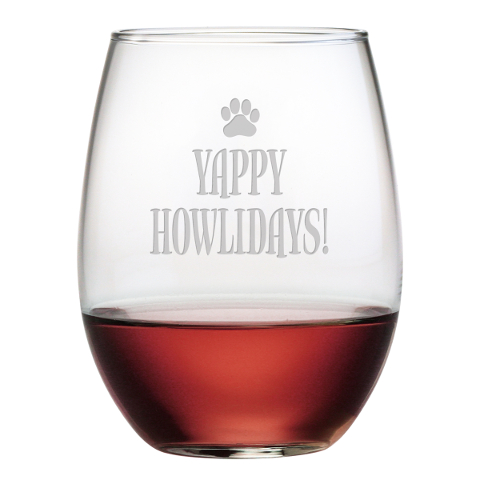 Yappy Howlidays Stemless Wine Glasses